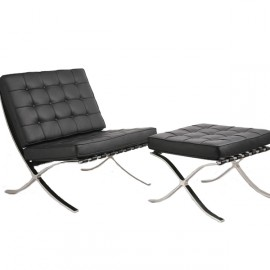 Barcelona Chair with Footrest in Leatherette