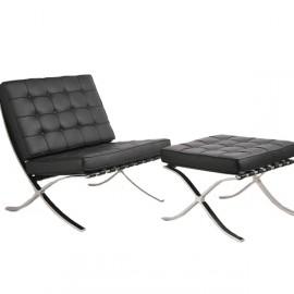 Cadeira de couro sintético Barcelona com apoio para os pés