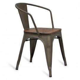 Cadeira Bistro Arms Wood Antique