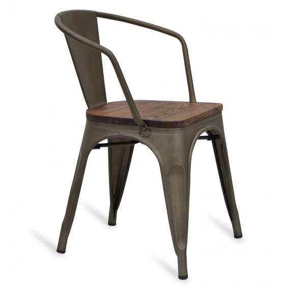 Cadeira bistrô industrial com braços