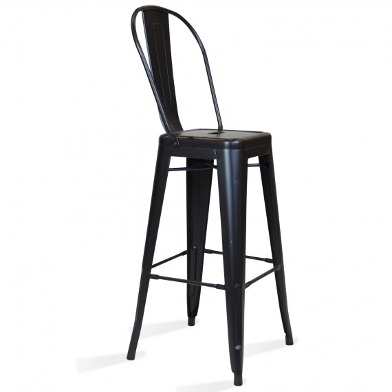 Metal industrial stool Bistro Style with backrest
