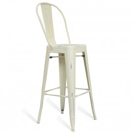 Metal Bistro Style With Backrest Blue Stool