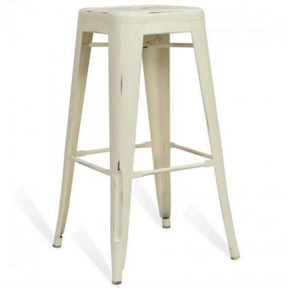 Industrial white stool BIstro 76CM Brush
