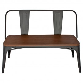 Bistro wooden bench with backrest
