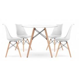 Pacote de 4 cadeiras Shark e 1 mesa James 100 cm