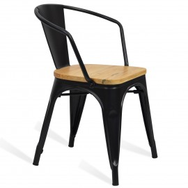 Cadeira industrial de metal Bistro Arms Wood