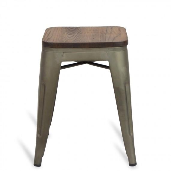 Taburete industrial bajo con asiento de madera Bistro Antique
