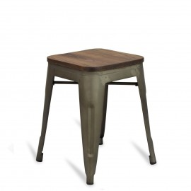 Banqueta baixa industrial com assento de madeira Bistro Antique