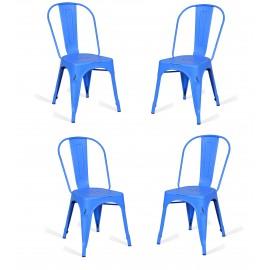 Pack 4 Sillas industriales Bistro azul