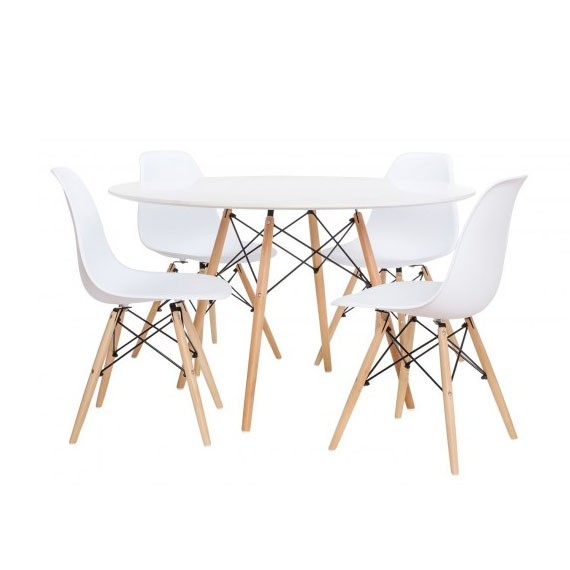 Pacote de 4 cadeiras James e 1 mesa James 120 cm