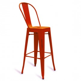 Metal industrial stool Bistro HB Brush with backrest