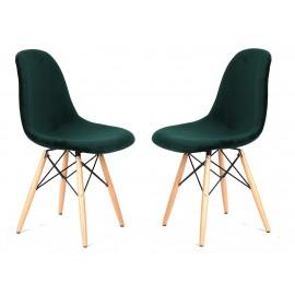 Pacote de 2 cadeiras de veludo verde