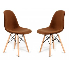 Pack of 2 Velvet Brown Chairs