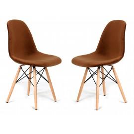 Pacote de 2 cadeiras de veludo marrom