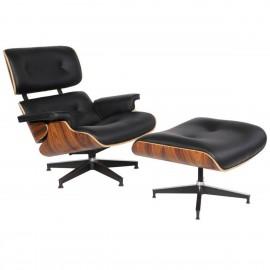 Réplica da poltrona Eames Lounge em couro sintético da Charles & Ray