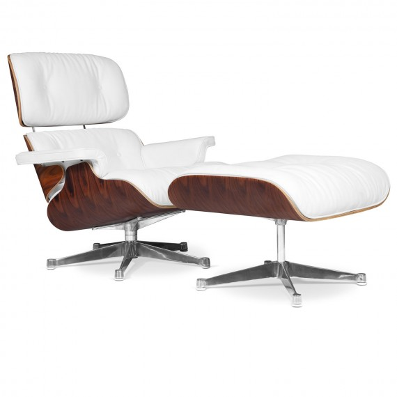 Eames lounge chair replica in leatherette and chrome base by Charles & Ray