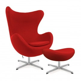 Silla Egg Chair con Reposapies de Cachemira