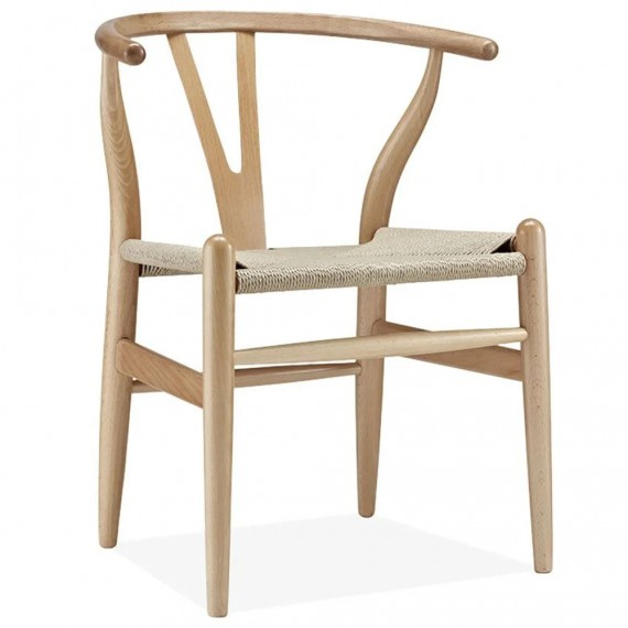 Replica of the high-end Wishbone CH24 Scandinavian chair in beech wood