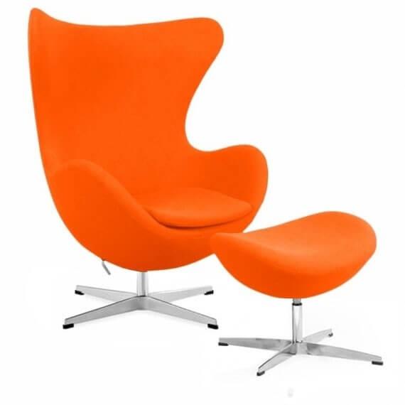 Réplica Silla Egg Chair con Reposapiés del diseñador Arne Jacobsen