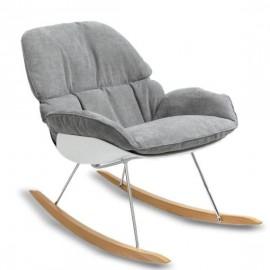 Réplica balancín de diseño Bay Rocking Chair con cojín gris