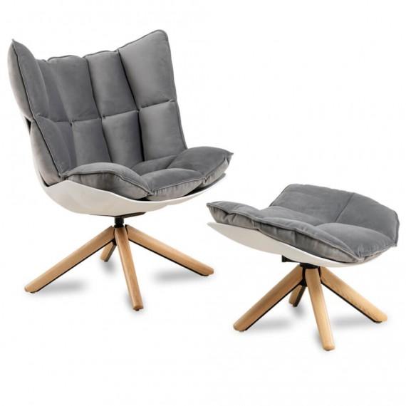 Réplica del sillón de Diseño Husk Armchair con reposapiés de la magnífica diseñadora Patricia Urquiola
