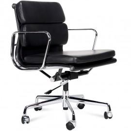 Cadeira de escritório com almofada macia em couro flor
