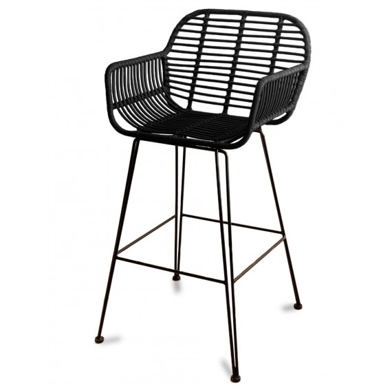 Le Midi Stool with armrest in Rattan Perfect For Outdoor