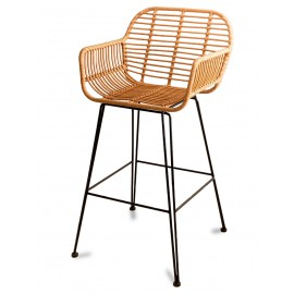 Le Midi Arms Stool In Rattan Perfect For Outdoor