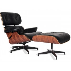 Réplica Butaca Eames Lounge Chair en Piel Anilina y Madera de Palissandro de Charles & Ray Eames.