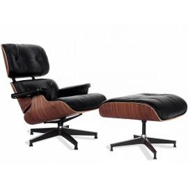 Sillón James Lounge Chair en Piel Anilina y Madera de Nogal