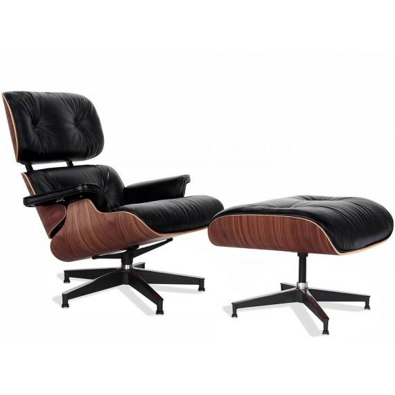Replica Eames Lounge Chair Versão Premium em couro anilina e madeira de nogueira