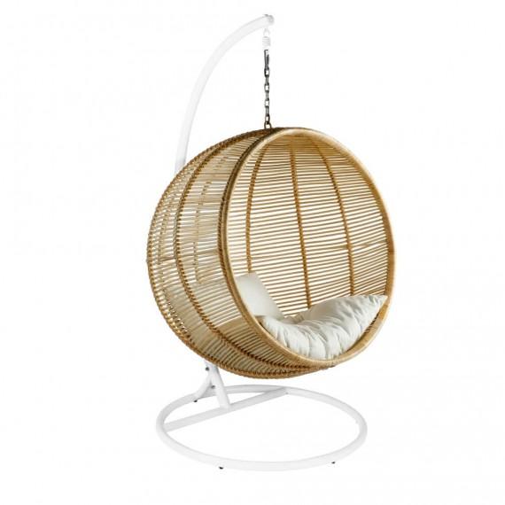 Cadeira suspensa com bola de verão em vime com acabamento natural para jardim
