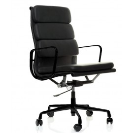 Soft Pad HighBack Office Chair All Black in Full Grain Leather