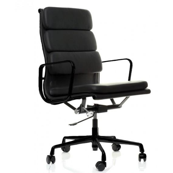 Réplica de la silla de oficina Soft Pad EA219 en aluminio negro