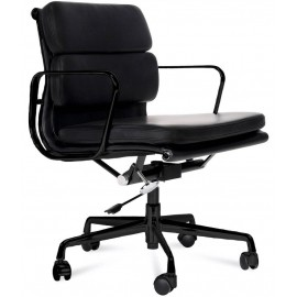 Réplica da cadeira de escritório Soft Pad EA217 em alumínio preto