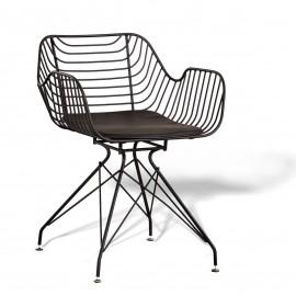 Cadeira Meridian em aço adequada para exteriores