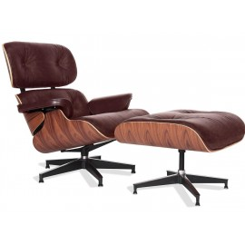 James Lounge Chair in Vintage Waxed Leather and Rosewood