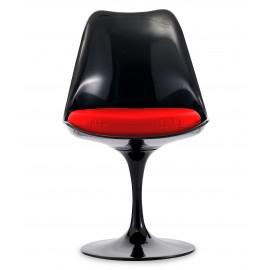 Cadeira Tulip Chair All Black com almofada de algodão