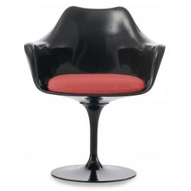 Réplica da cadeira de braços em tulipa totalmente preta com almofada