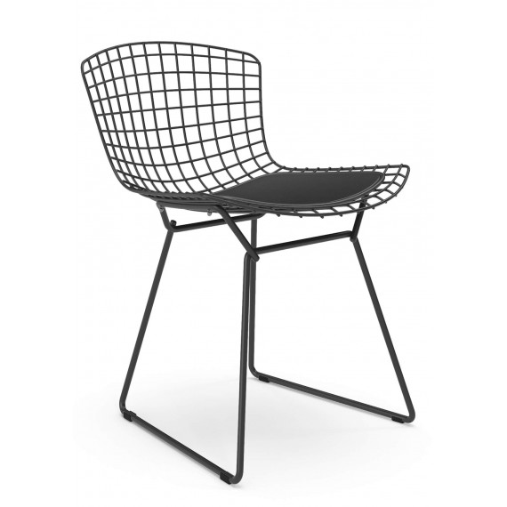 Réplica silla metálica Bertoia en acero negro de estilo industrial del famoso diseñador Hans J. Wegner