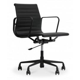 Cadeira de escritório Replica Alu toda preta em couro flor