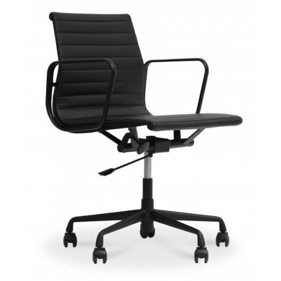 Cadeira de escritório Replica Alu EA117 toda preta em couro flor
