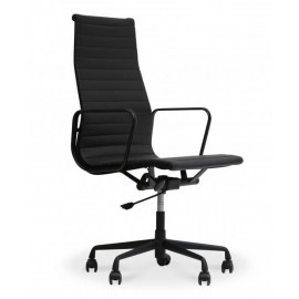 Replica of the Alu HighBack all black Office Chair in Flower Leather inspired by the design of Charles & Ray Eames