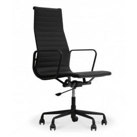 Réplica da cadeira de escritório Alu HighBack toda preta em couro flor inspirada no design de <span class='notranslate' data-dge
