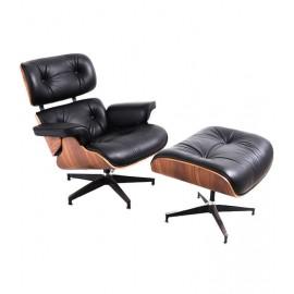 Replica James Lounge Chair em couro e madeira de nogueira