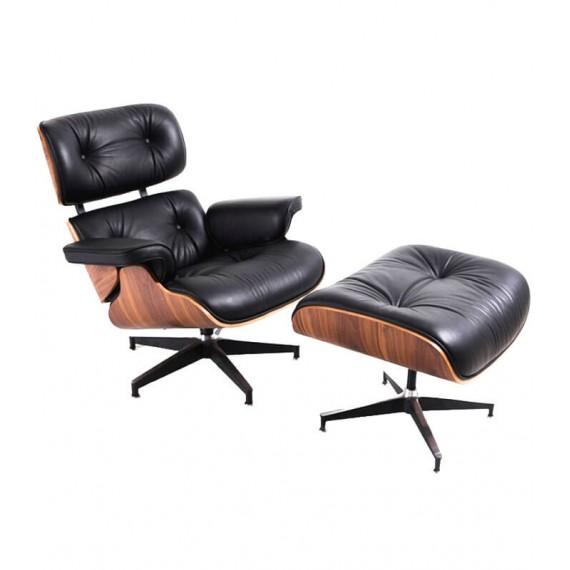 Réplica Sillón James Lounge Chair en Polipiel y Madera de Nogal