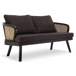Loveseat Leeds sofa in natural rattan and vintage-style cotton cushion.