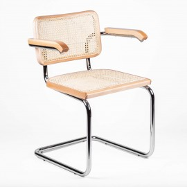 Replica of the Cesca Chair with armrests by designer Marcel Breuer