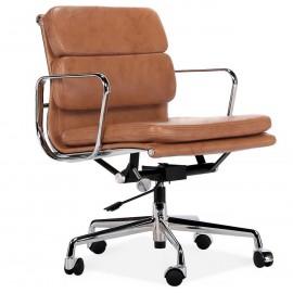 Réplica da cadeira de escritório com almofada macia EA217 em couro vintage envelhecido
