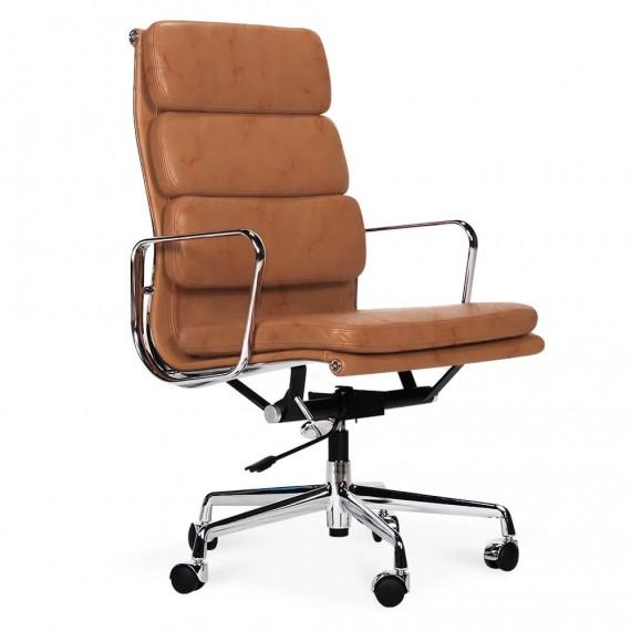 Réplica da cadeira de escritório com almofada macia EA219 em couro vintage envelhecido